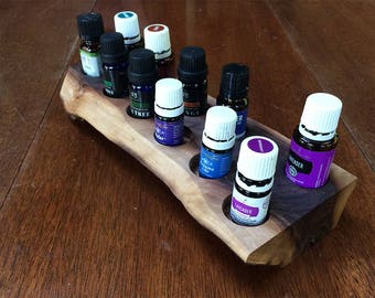 Essential oils holder for 11 vials, rustic, black walnut, live edge (#10)