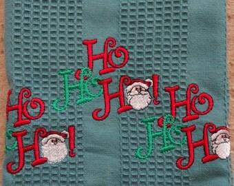 Embroidered Ho Ho Ho Santa kitchen towel