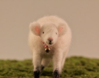 Little white sheep, Needle felted animals, cute soft toy, gift