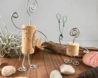 Daddy and me set of two wine cork figurines with silver wire, up cycled wine corks, gift for baby shower, fun cork art, cork gifts, wine