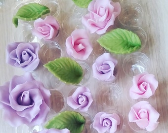 Sugar roses, Set of 15 handmade roses, cake topper, wedding cake decor