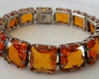 Reserved for Katherine Art Deco Amber Glass Square Bezel Tennis Bracelet