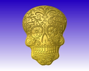 Sugar Skull Vector Relief Model in stl file format for cnc machining and sign carving download only