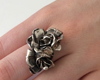 Sterling silver roses ring