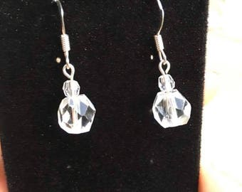 Vintage Clear Crystal Earrings, Faceted Crystal, Drop and Dangle Earring, Vintage Glass