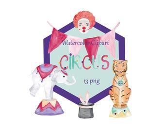 Circus Digital Clipart, Circus Clipart, Carnival Clipart,  Circus animals