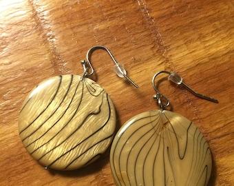 Brown Round Dangle Earrings
