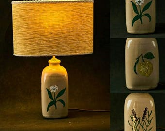 Limon hand painted country lamp with green lampshade