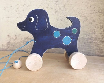Wood pull toy Dog in dark Blue, manual cut hand-painted personalized toy for kids toddlers, cheerful wooden pull along toy dog on wheels