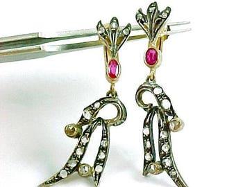 Rose Diamond Ruby 18k Gold Pendant Earrings