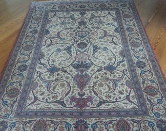 Antique persian rug kashan 6.9 × 4.7 ft 205 × 140 cm