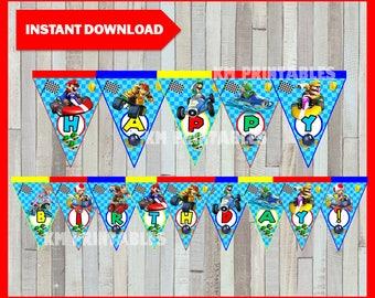 80% OFF SALE Printable Mario Kart Banner instant download, Mario Bros Birthday Banner, Printable Mario Kart Triangle Banner