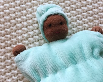 Cuddle doll, Waldorf baby doll, Waldorf doll, Waldorf toys, mint green, soft doll, for kids, plush toy, first doll, African american doll