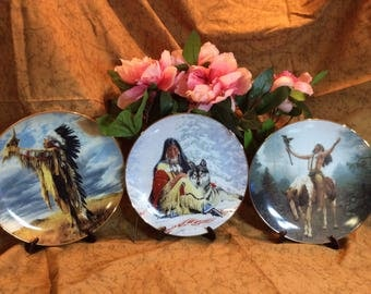 "Lot Of 3 American Indian 8"" Plates, Limited Editions"