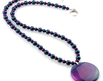 Hemalyke and Pearl Necklace with Purple/Green Agate pendant