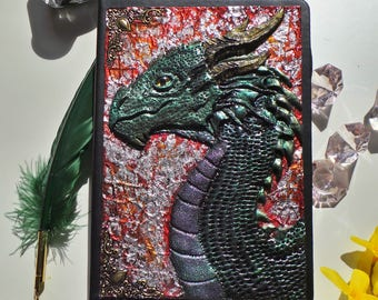 Notebook, journal with a dragon polymer clay cover notebook Dragon