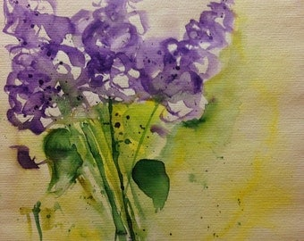 """""""Lilac"""" abstrackt watercolour, 30 x 40 cm, unique"""