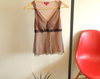 FREE SHIPPING - Vintage Romantic MONSOON brown and pale pink mesh tank top, size 10 uk/38 eur