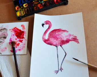 Flamingo watercolor painting Flamingo art Pink flamingo watercolor Flamingo original art Flamingo wall art Flamingo home decor