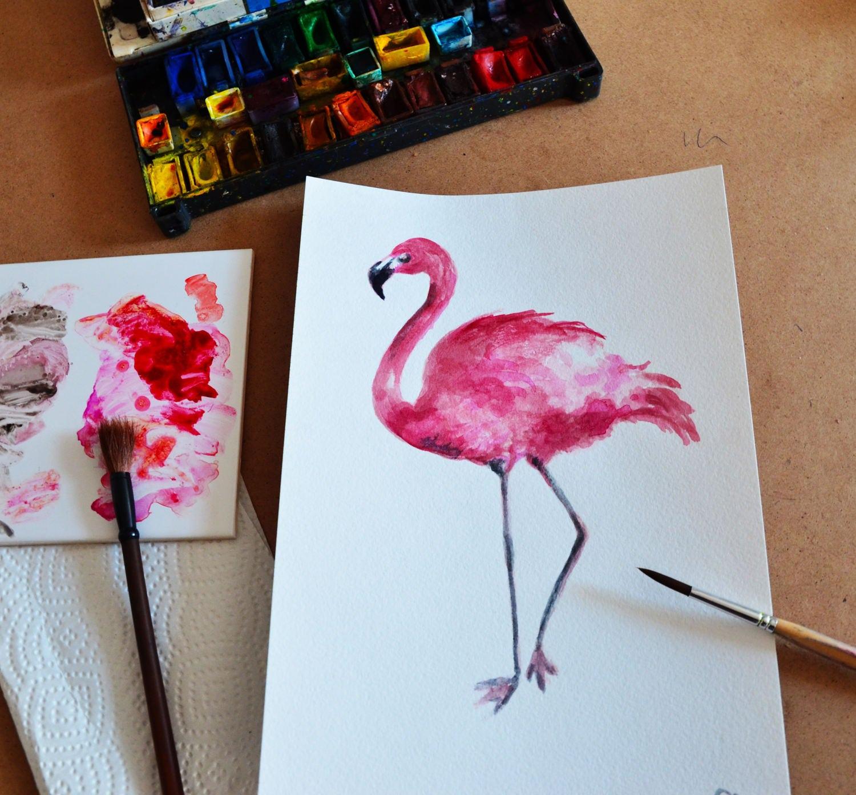 flamant rose peinture aquarelle flamant rose art pink flamingo. Black Bedroom Furniture Sets. Home Design Ideas
