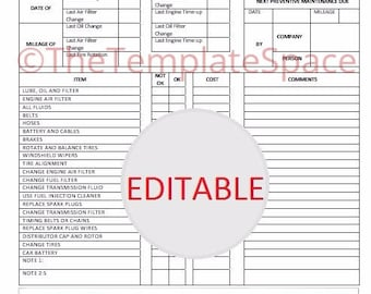 EDITABLE Monthly Vehicle Maintenance Checklist; Printable, Template