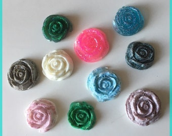 Lot 10 cabochon resin Rose color choice