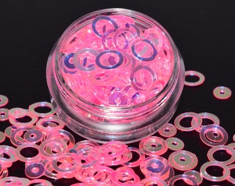 100 g/76,66 Euro - bag glitter sequins Donuts rings mix pink 2 g glitter new
