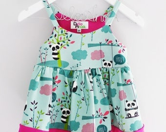 Top with straps children girls and babies small pandas mint