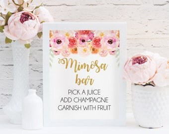 Mimosa Bar Print, Floral Mimosa Bar Print, Instant Download, Champagne Bar, Bubbly Bar Sign, Bridal Shower Decor, Shower Print