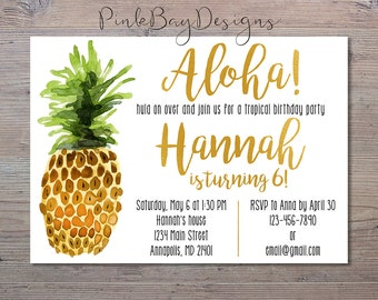 Aloha Birthday Birthday Invitation, Pineapple Birthday Invitation, Gold Foil Invite, Pineapple Birthday, Tropical Birthday Party, Birthday