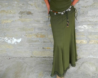 Green maxi skirt | Etsy