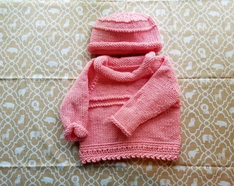 Baby girl sweater and hat set; baby shower; gift set