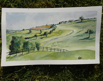 Original Watercolour Painting by Max Panks. View from Kingscote, Tetbury, Gloucestershire. Original Watercolour Painting