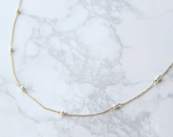 14k gold filled, sterling silver tiny pearls necklace