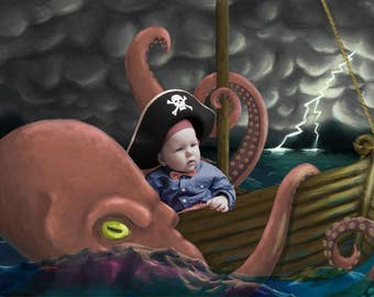 Octopus attacking a pirate ship digital background