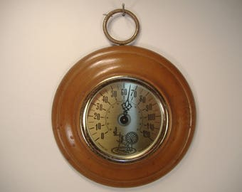 Vintage Cooper Solid Wood Wall Hanging Thermometer Circa 1960's