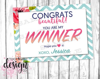 Agnes and Dora Winner Card, Chevron Floral Free Product Promo Coupon, Online Business Win Sign Personalized Winning, Marketing Kit PRINTABLE