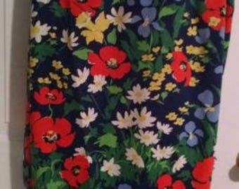 Vintage mod floral twin blanket -throw - sheet 60's 70's