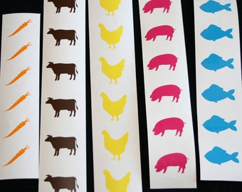 Meal Stickers, Menu Choice Stickers, Food choice, Table, Animal stickers, DIY, pork, chicken, beef, fish, vegetables, decal
