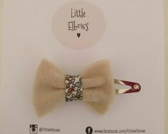 Liberty of London Emilia's Flowers Beige Felt Snap Clip Baby Girl