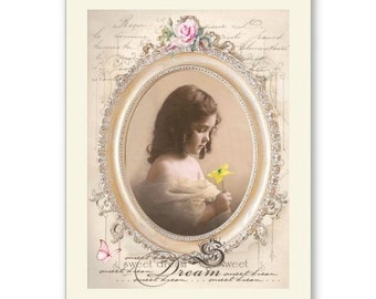 Personalised Handmade Greetings Card ~ Vintage Postcard of A Child  #3