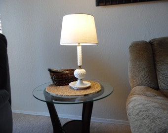 Vintage Milk glass lamp with shade