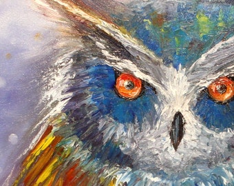 The Owl of the Vision - Oil Painting, Hand Painted Owl 60 x 50 cm