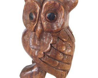 Vintage Hand Carved Wooden Owl Figure Whistle