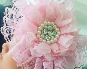 Baby girl Big pink flower lace pearl brooch headpiece for photo props