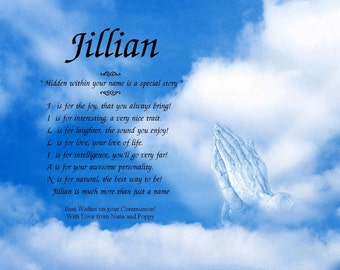 "A ""Name-Poem"" in our Praying Hands background"