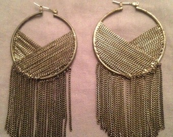 """Long 4"""" chain hoop earrings gunmetal"""