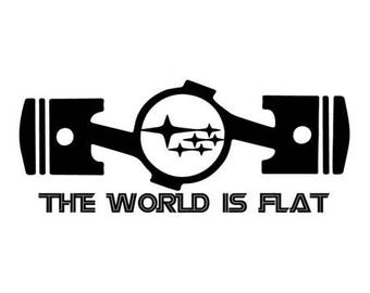 The World Is Flat Subaru WRX STI Window Decal Sticker Vinyl Custom
