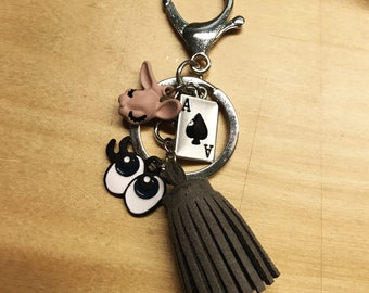 Customised poker sleeping rabbit bagcharm key chain