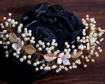Handmade Gold Simulated Pearl Bridal Hair Vine Wedding Tiara// Prom Headpiece